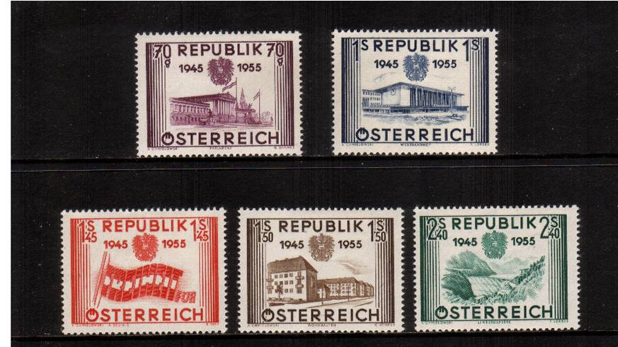 0th Anniversary of Re-establishment of Austrian Republic.<br/>A fine lightly mounted mint set of five.