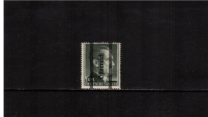1RM Blackish Green overprinted ''Osterreich'' - 18絤m - Perforation 14<br/>A good lightly mounted mint single