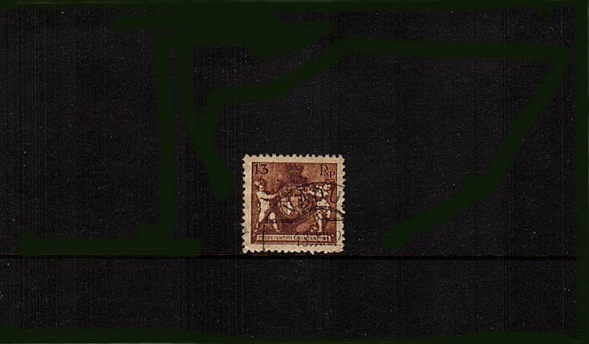 13R Red-Brown ''Arms'' - Perforation 12�br/>A superb fine used single crisply cancelled with a VADUZ double ring steel CDS.
