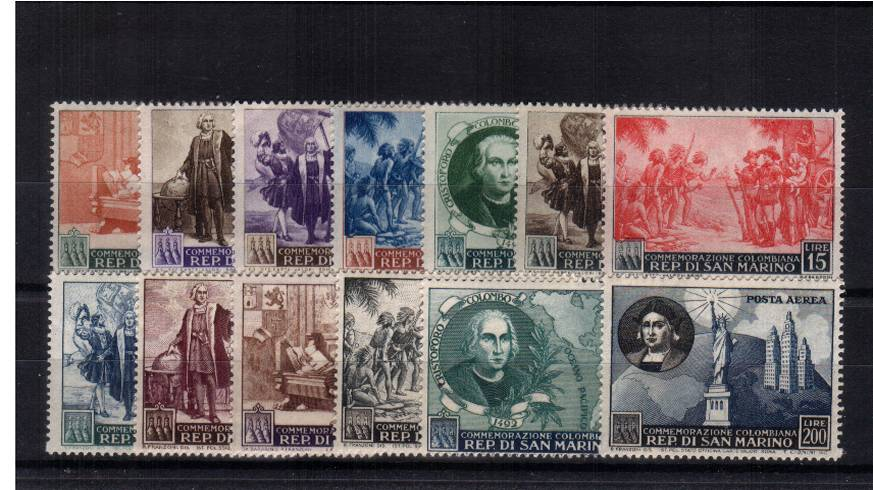 500th Birth Anniversary of Christopher Columbus<br/>A fine very, very lightly mounted mint set of thirteen. A superb set! SG Cat �0