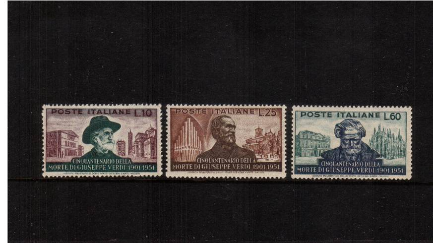 50th DEath Anniversary of Verdi -  Comoser<br/>A fine very lightly mounted mint set of three. SG Cat �
