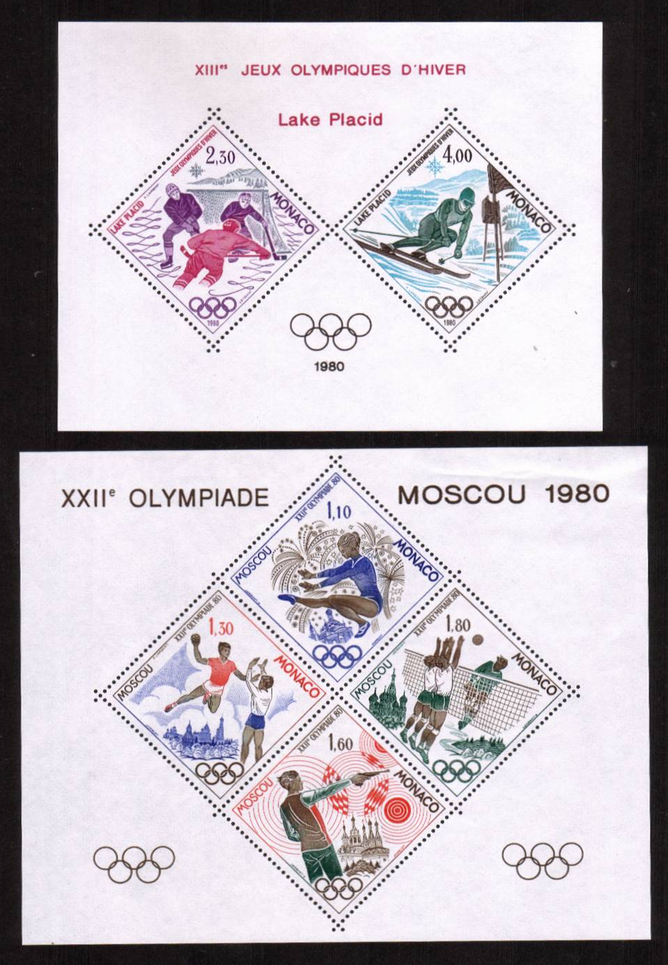 The unlisted by SG pair of minisheets for the Olympic Games - Moscow superb unmounted mint