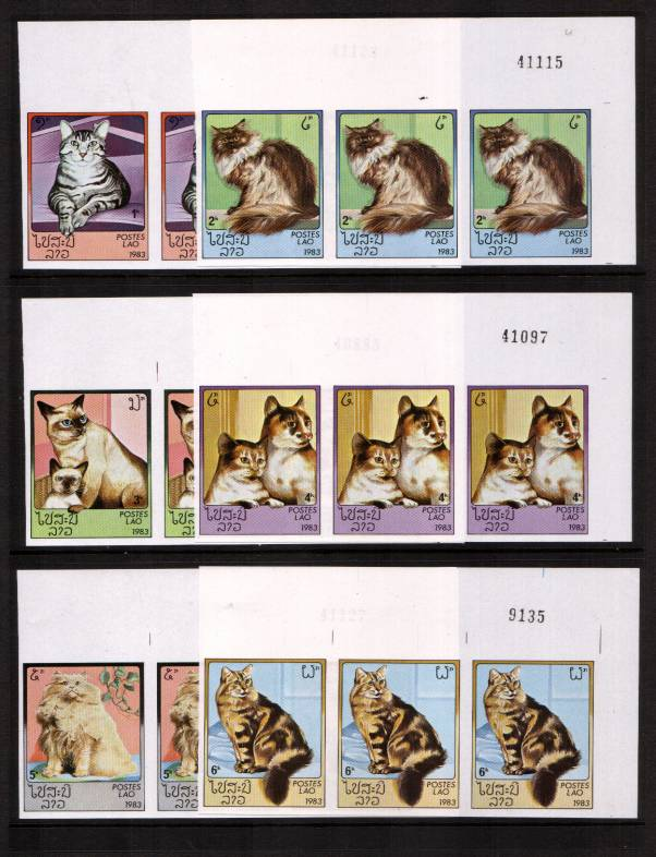 Domestic Cats set of six in superb unmounted mint corner strips of three