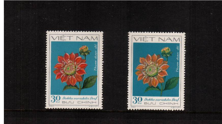 30x Red Dahlia showing missing RED with normal for comparison with no gum as issued.