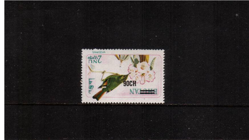 The 2n Fire-Tailed Myzornis bird single with the Provisional Surcharge.<br/>