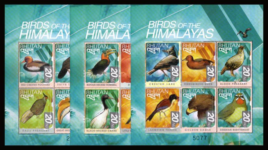 Birds of the Himalayas set of eighteen<br/>in three special sheetlets of six superb unmounted mint.