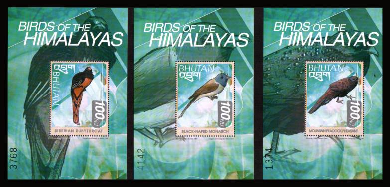Birds of the Himalayas set of three minisheets superb unmounted mint.