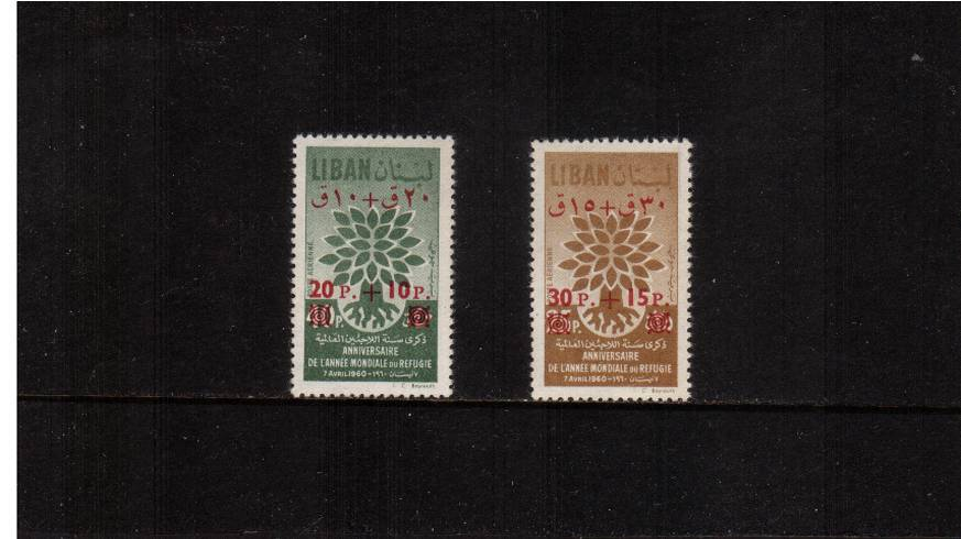 World Refugee Year overprint set of two superb unmounted mint.