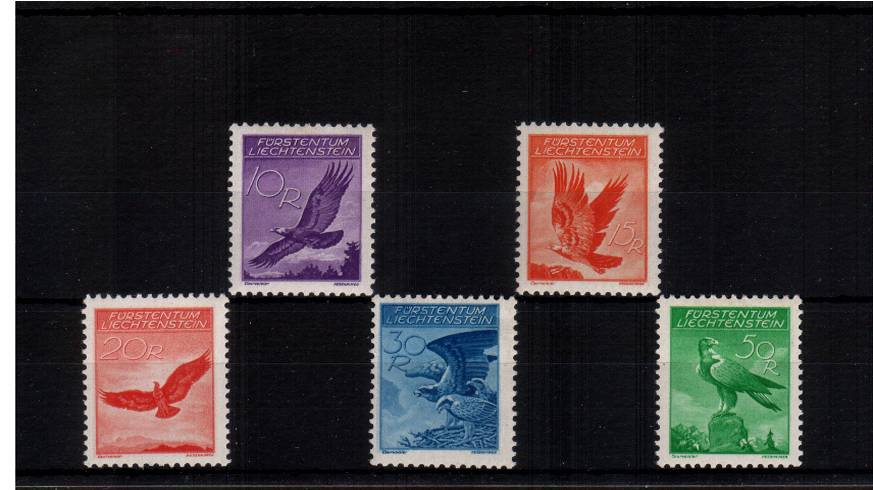 The ''BIRDS'' set of five with GRILLED GUM all superb unmounted mint.<br/>SG Cat for mounted  �7