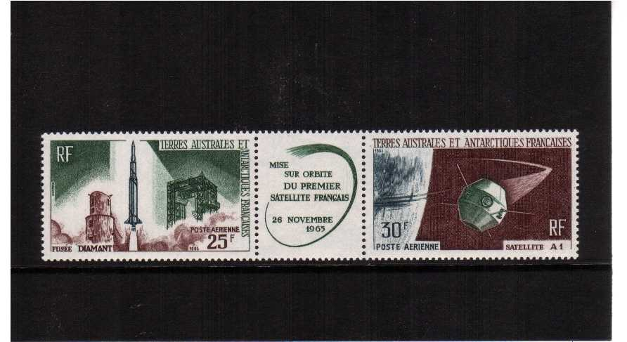Launching of 1st French Space Satellite pair with label between superb unmounted mint.