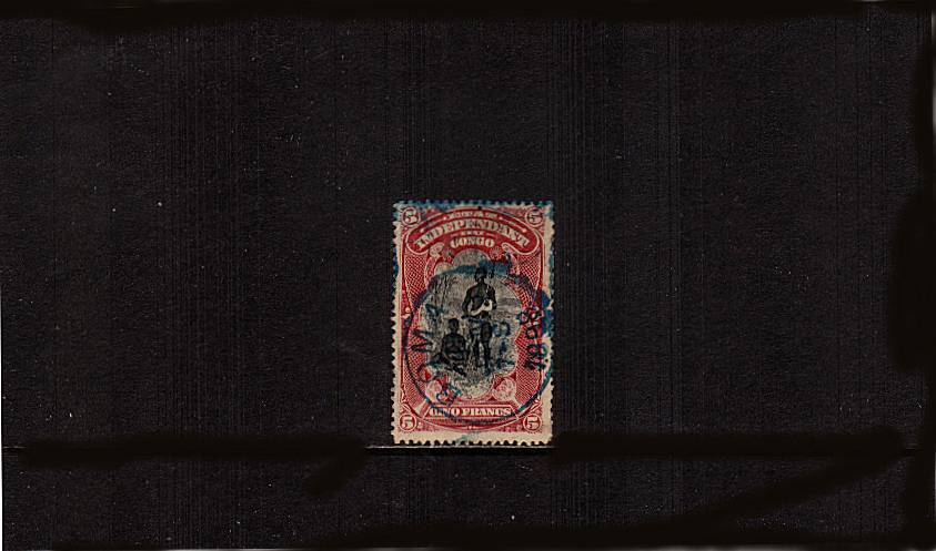 5f Black and Lake definitive single<br/>cancelled in blue-green with a BOMA CDS dated JAN 7 1898