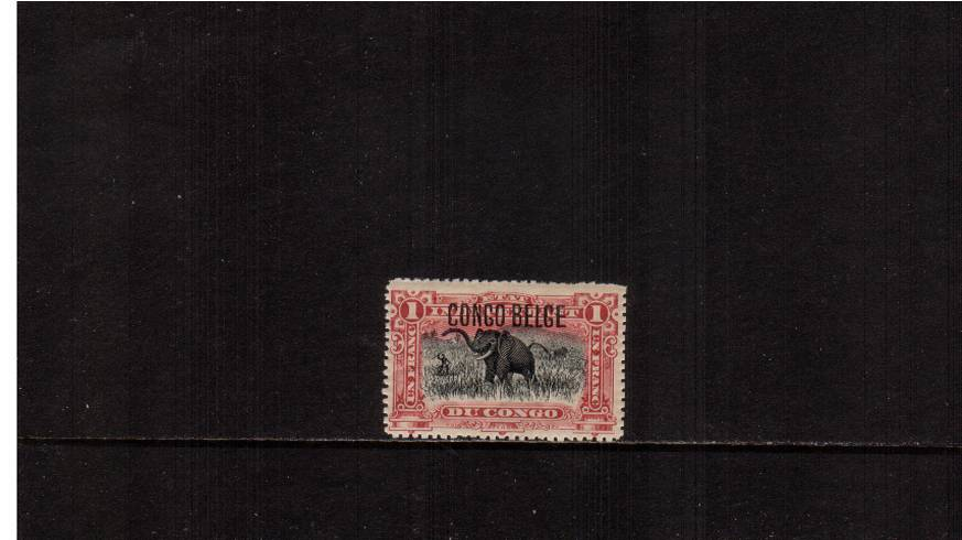 1f Black and Carmine definitive single<br/>A Brussels lightly mounted mint single. SG Cat �0